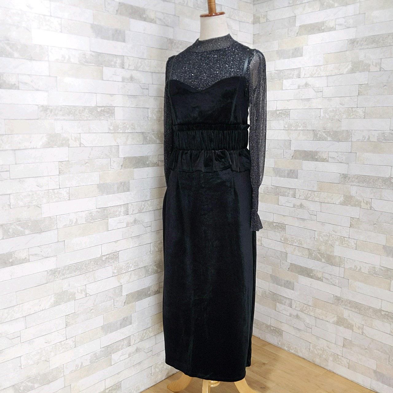 【即納】韓国 ファッション パーティードレス 結婚式 お呼ばれドレス セットアップ 秋 冬 春 パーティー ブライダル SPTXG154  シースルー ペプラム タイト キャ 二次会 セレブ きれいめの写真12枚目