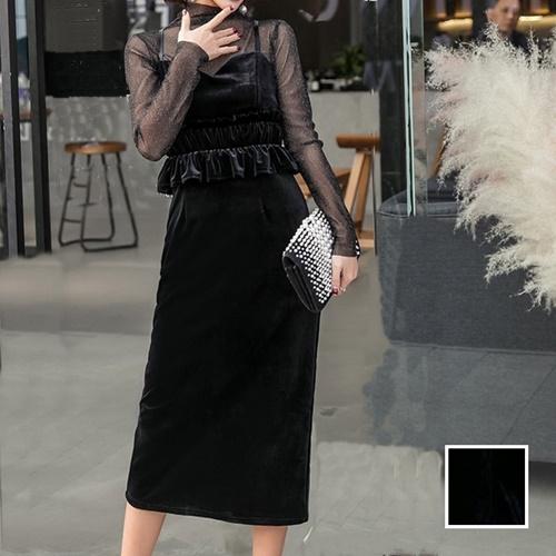 【即納】韓国 ファッション パーティードレス 結婚式 お呼ばれドレス セットアップ 春 秋 冬 パーティー ブライダル SPTXG169  シースルー ラメ ペプラム タイト 二次会 セレブ きれいめの写真1枚目