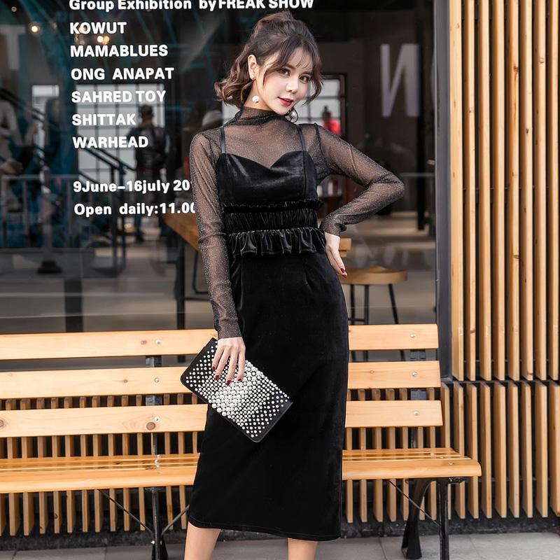 【即納】韓国 ファッション パーティードレス 結婚式 お呼ばれドレス セットアップ 春 秋 冬 パーティー ブライダル SPTXG169  シースルー ラメ ペプラム タイト 二次会 セレブ きれいめの写真2枚目