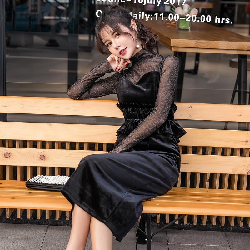 【即納】韓国 ファッション パーティードレス 結婚式 お呼ばれドレス セットアップ 春 秋 冬 パーティー ブライダル SPTXG169  シースルー ラメ ペプラム タイト 二次会 セレブ きれいめの写真4枚目