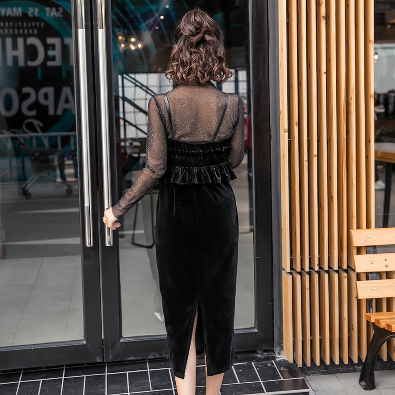 【即納】韓国 ファッション パーティードレス 結婚式 お呼ばれドレス セットアップ 春 秋 冬 パーティー ブライダル SPTXG169  シースルー ラメ ペプラム タイト 二次会 セレブ きれいめの写真6枚目