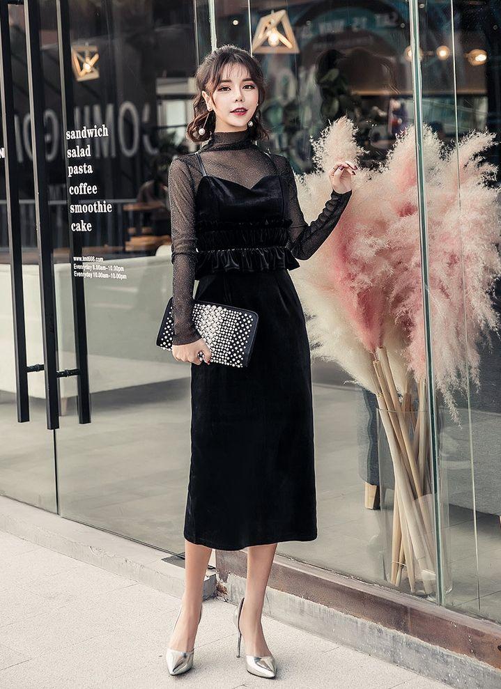【即納】韓国 ファッション パーティードレス 結婚式 お呼ばれドレス セットアップ 春 秋 冬 パーティー ブライダル SPTXG169  シースルー ラメ ペプラム タイト 二次会 セレブ きれいめの写真8枚目