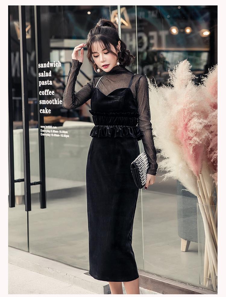 【即納】韓国 ファッション パーティードレス 結婚式 お呼ばれドレス セットアップ 春 秋 冬 パーティー ブライダル SPTXG169  シースルー ラメ ペプラム タイト 二次会 セレブ きれいめの写真10枚目