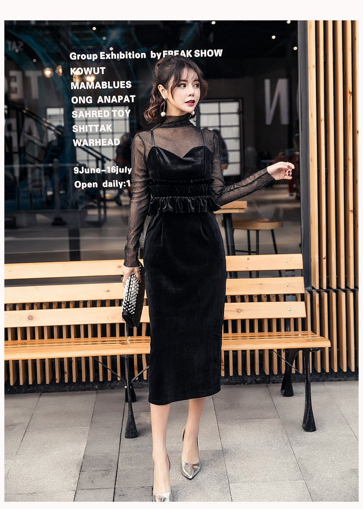 【即納】韓国 ファッション パーティードレス 結婚式 お呼ばれドレス セットアップ 春 秋 冬 パーティー ブライダル SPTXG169  シースルー ラメ ペプラム タイト 二次会 セレブ きれいめの写真11枚目