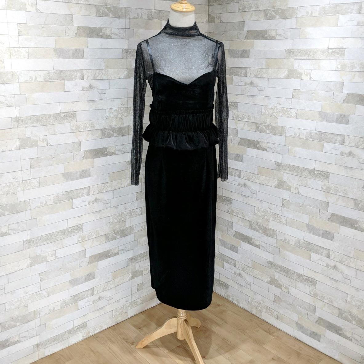 【即納】韓国 ファッション パーティードレス 結婚式 お呼ばれドレス セットアップ 春 秋 冬 パーティー ブライダル SPTXG169  シースルー ラメ ペプラム タイト 二次会 セレブ きれいめの写真12枚目
