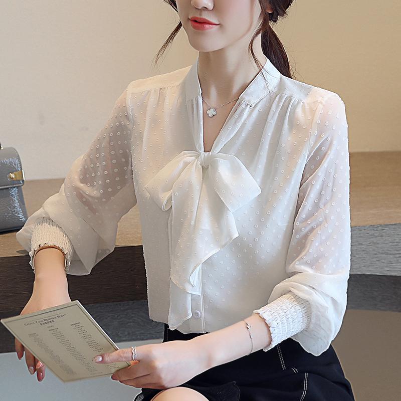 韓国 ファッション トップス ブラウス シャツ 春 夏 秋 カジュアル PTXG233  セルフドット リボンタイ シアー シフォン オルチャン シンプル 定番 セレカジの写真3枚目