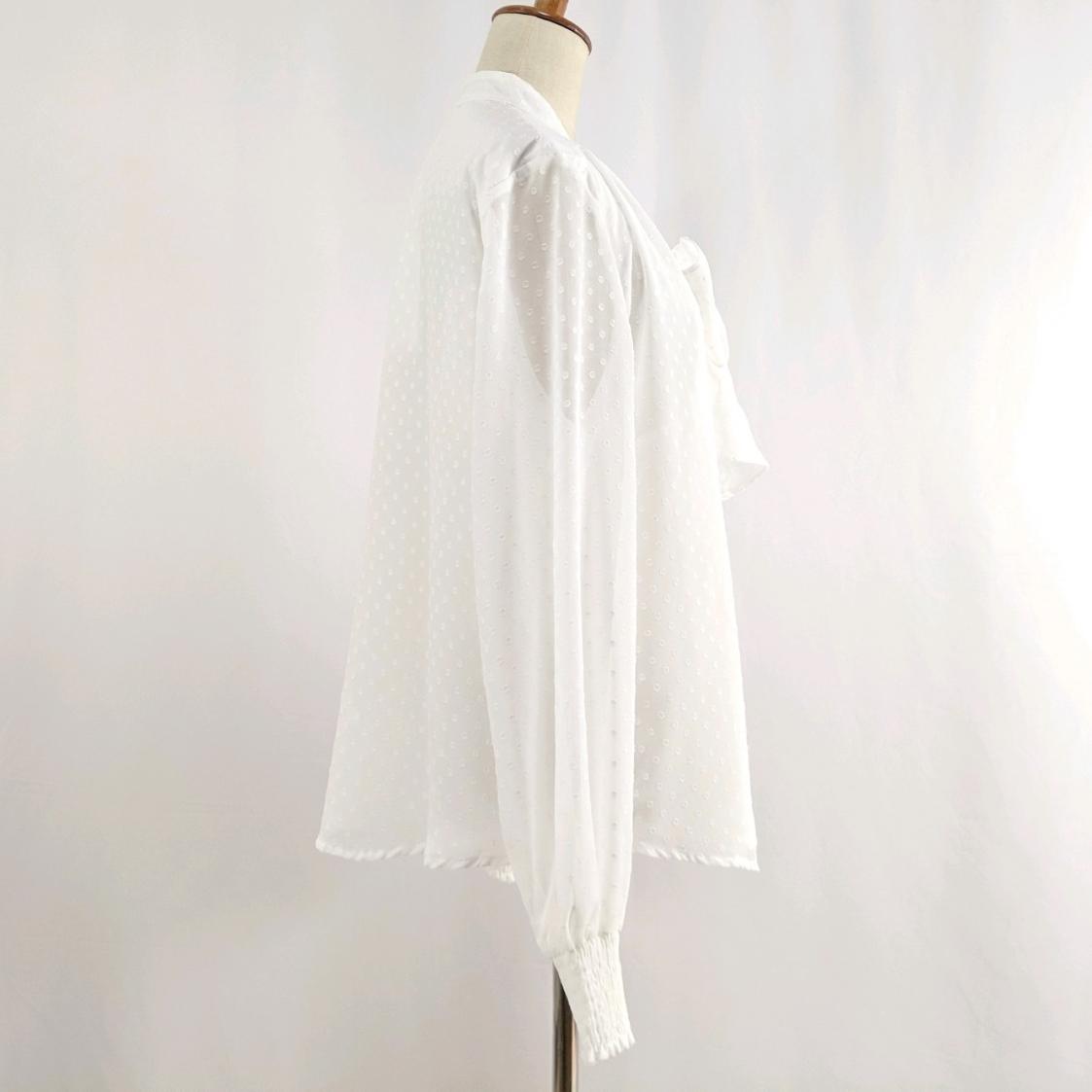 韓国 ファッション トップス ブラウス シャツ 春 夏 秋 カジュアル PTXG233  セルフドット リボンタイ シアー シフォン オルチャン シンプル 定番 セレカジの写真14枚目