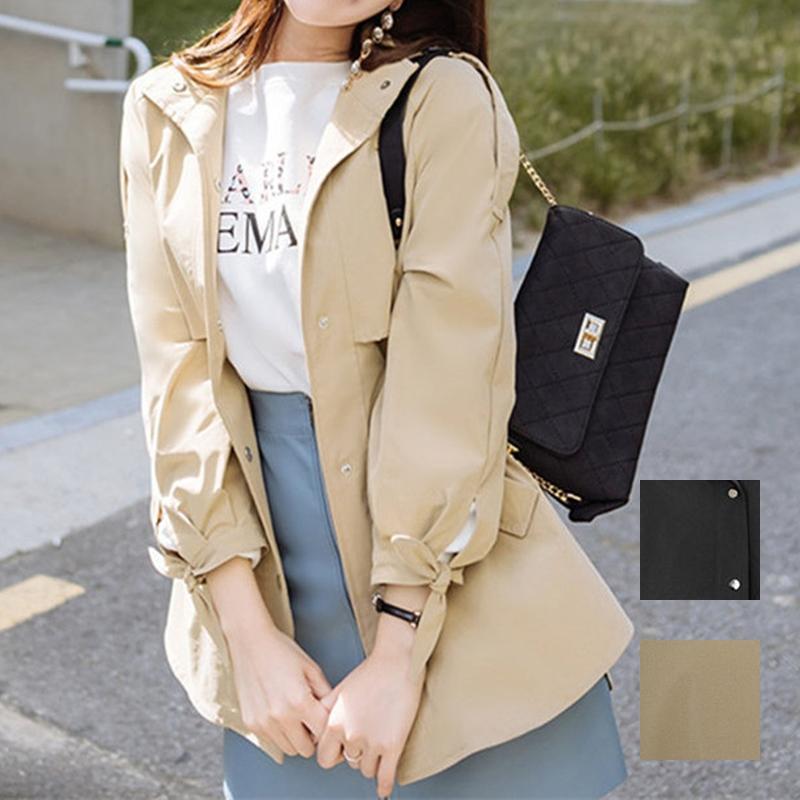 韓国 ファッション アウター トレンチコート 秋 冬 春 カジュアル PTXG245  スタンドカラー 袖リボン ウエストシェイプ オルチャン シンプル 定番 セレカジの写真1枚目
