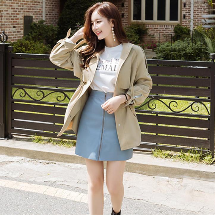 韓国 ファッション アウター トレンチコート 秋 冬 春 カジュアル PTXG245  スタンドカラー 袖リボン ウエストシェイプ オルチャン シンプル 定番 セレカジの写真2枚目
