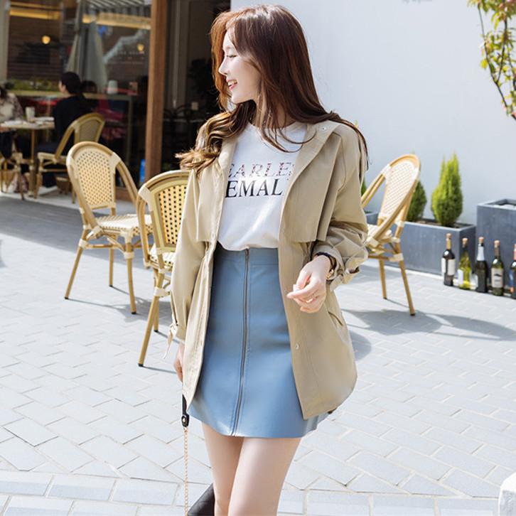 韓国 ファッション アウター トレンチコート 秋 冬 春 カジュアル PTXG245  スタンドカラー 袖リボン ウエストシェイプ オルチャン シンプル 定番 セレカジの写真3枚目