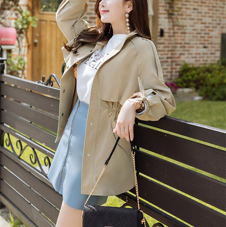 韓国 ファッション アウター トレンチコート 秋 冬 春 カジュアル PTXG245  スタンドカラー 袖リボン ウエストシェイプ オルチャン シンプル 定番 セレカジの写真4枚目