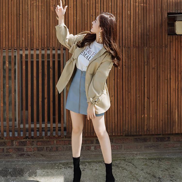 韓国 ファッション アウター トレンチコート 秋 冬 春 カジュアル PTXG245  スタンドカラー 袖リボン ウエストシェイプ オルチャン シンプル 定番 セレカジの写真5枚目