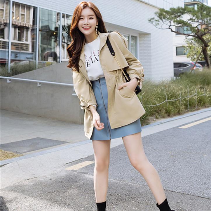 韓国 ファッション アウター トレンチコート 秋 冬 春 カジュアル PTXG245  スタンドカラー 袖リボン ウエストシェイプ オルチャン シンプル 定番 セレカジの写真6枚目