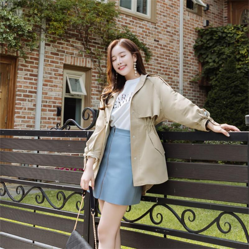 韓国 ファッション アウター トレンチコート 秋 冬 春 カジュアル PTXG245  スタンドカラー 袖リボン ウエストシェイプ オルチャン シンプル 定番 セレカジの写真7枚目
