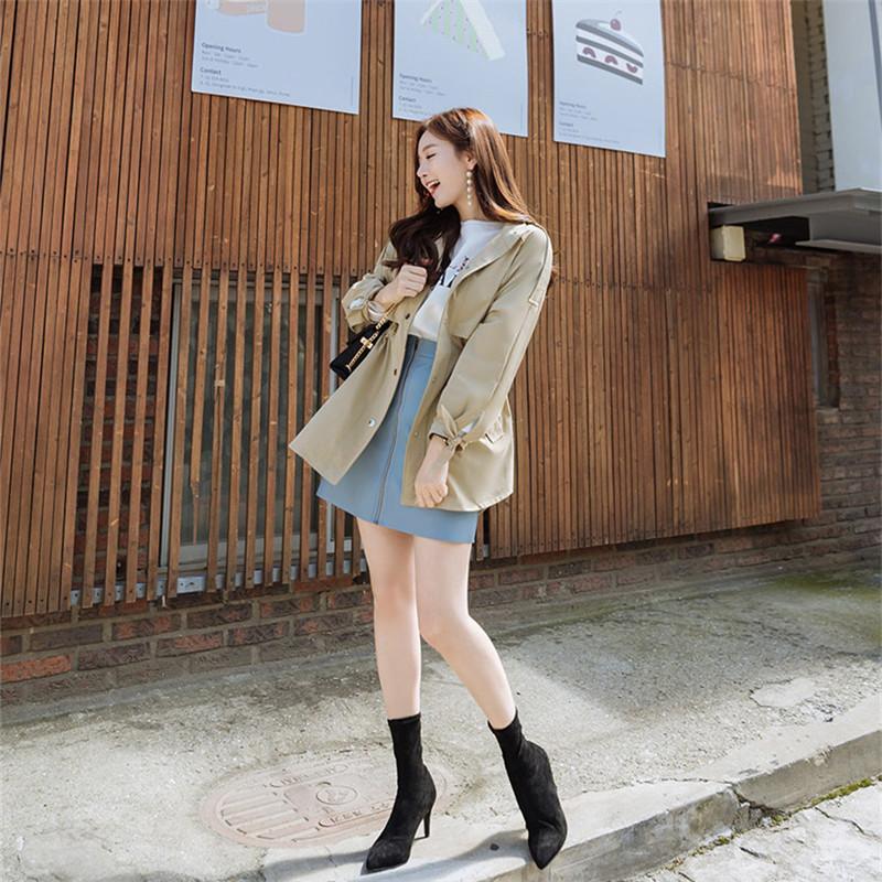 韓国 ファッション アウター トレンチコート 秋 冬 春 カジュアル PTXG245  スタンドカラー 袖リボン ウエストシェイプ オルチャン シンプル 定番 セレカジの写真9枚目