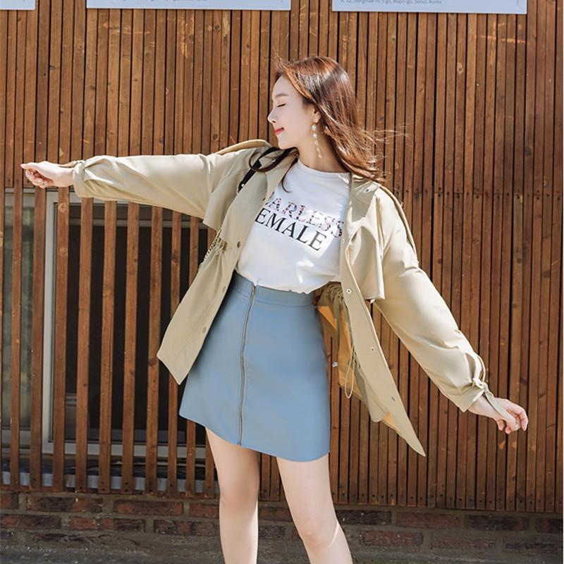 韓国 ファッション アウター トレンチコート 秋 冬 春 カジュアル PTXG245  スタンドカラー 袖リボン ウエストシェイプ オルチャン シンプル 定番 セレカジの写真10枚目