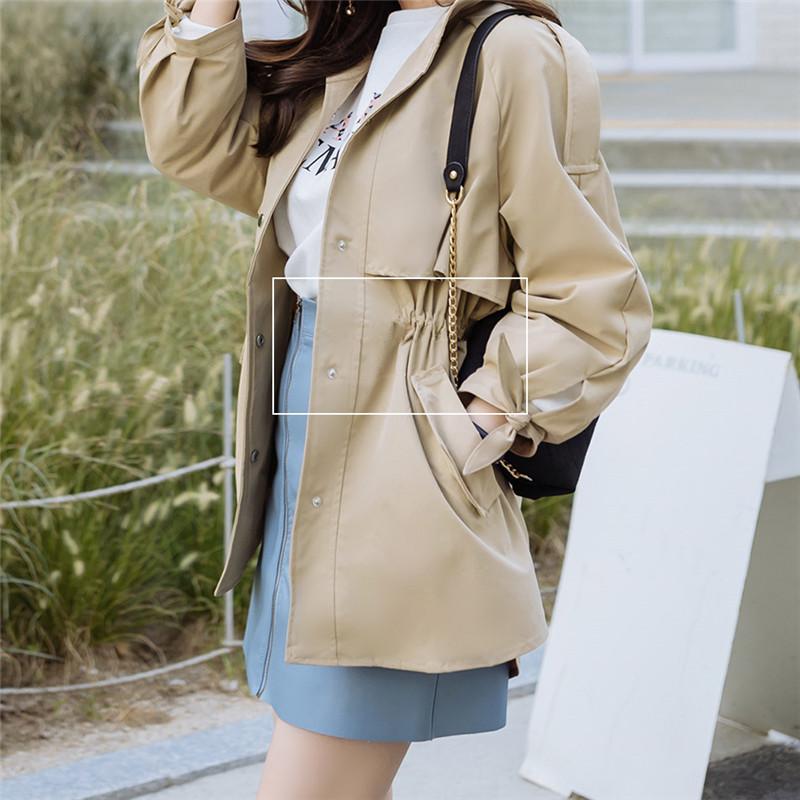 韓国 ファッション アウター トレンチコート 秋 冬 春 カジュアル PTXG245  スタンドカラー 袖リボン ウエストシェイプ オルチャン シンプル 定番 セレカジの写真12枚目