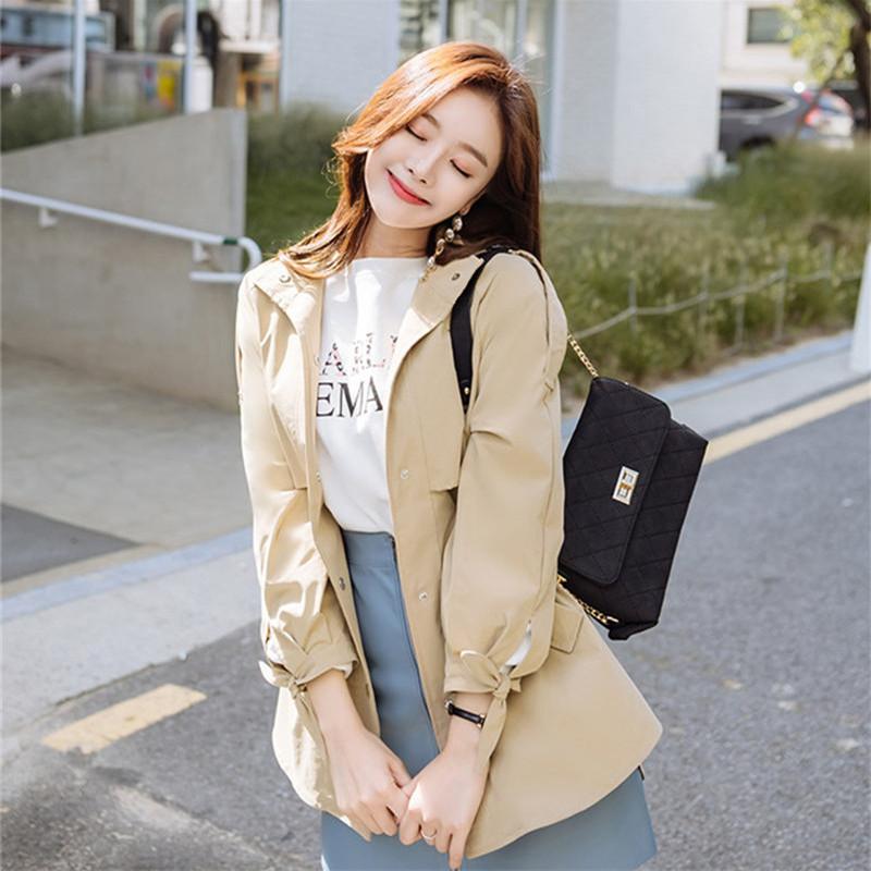 韓国 ファッション アウター トレンチコート 秋 冬 春 カジュアル PTXG245  スタンドカラー 袖リボン ウエストシェイプ オルチャン シンプル 定番 セレカジの写真13枚目