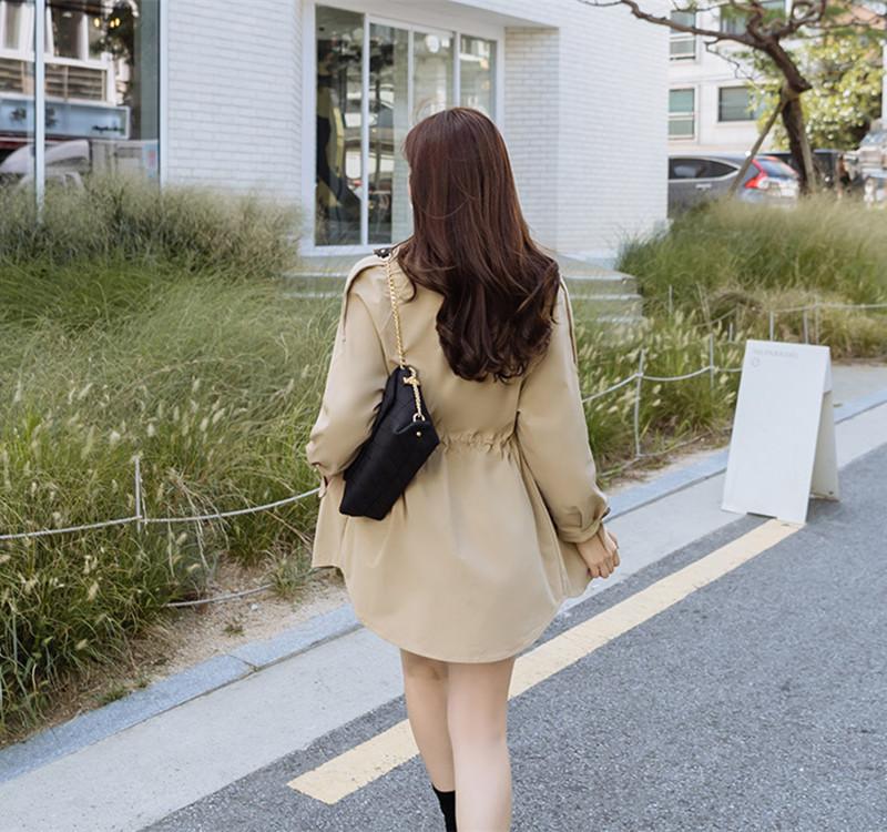 韓国 ファッション アウター トレンチコート 秋 冬 春 カジュアル PTXG245  スタンドカラー 袖リボン ウエストシェイプ オルチャン シンプル 定番 セレカジの写真14枚目