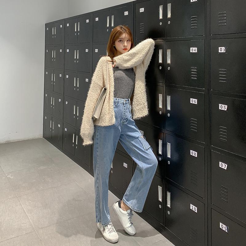 韓国 ファッション トップス カーディガン 秋 冬 春 カジュアル PTXG255  もこもこ モヘア風 プードルニット ゆったり オルチャン シンプル 定番 セレカジの写真3枚目