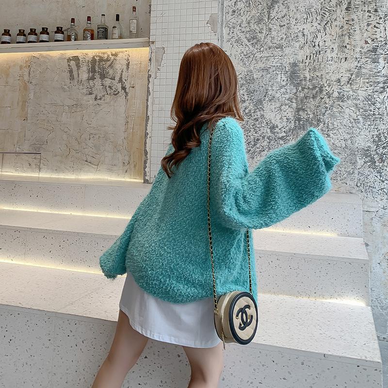 韓国 ファッション トップス カーディガン 秋 冬 春 カジュアル PTXG255  もこもこ モヘア風 プードルニット ゆったり オルチャン シンプル 定番 セレカジの写真6枚目