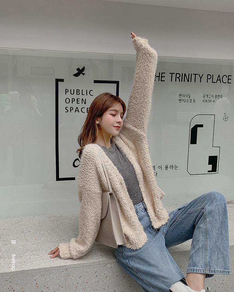 韓国 ファッション トップス カーディガン 秋 冬 春 カジュアル PTXG255  もこもこ モヘア風 プードルニット ゆったり オルチャン シンプル 定番 セレカジの写真8枚目