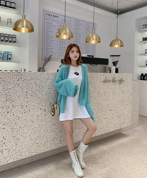 韓国 ファッション トップス カーディガン 秋 冬 春 カジュアル PTXG255  もこもこ モヘア風 プードルニット ゆったり オルチャン シンプル 定番 セレカジの写真19枚目