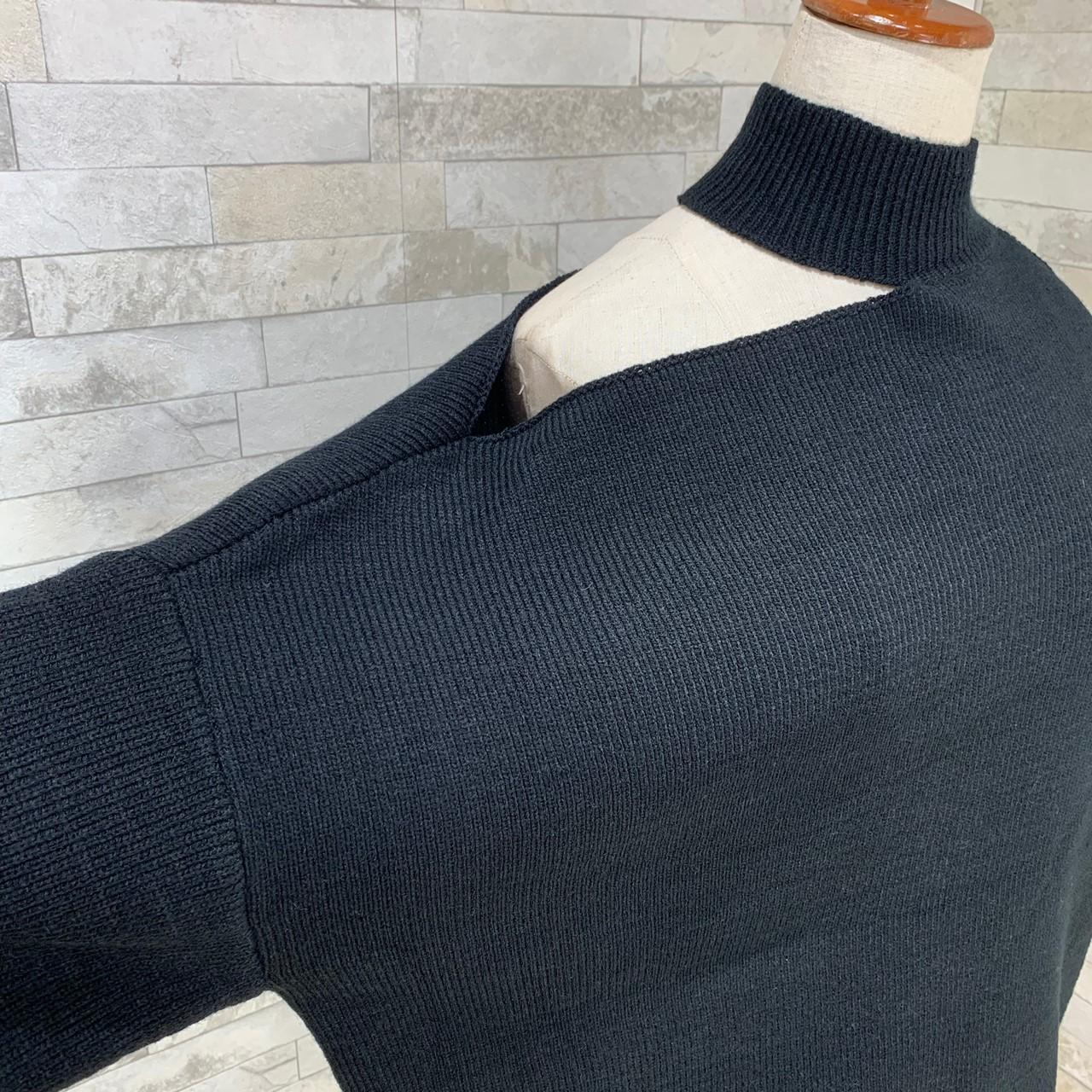 韓国 ファッション トップス ニット セーター 秋 冬 カジュアル PTXG267  アシンメトリー オープンショルダー カットオフ オルチャン シンプル 定番 セレカジの写真9枚目