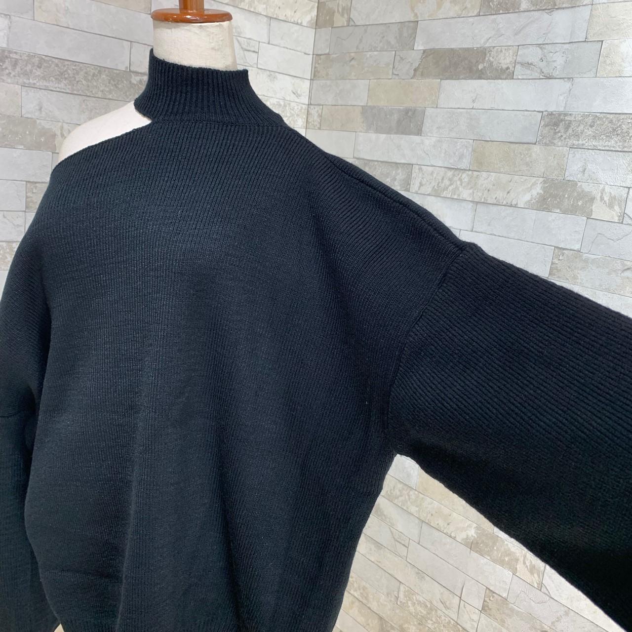 韓国 ファッション トップス ニット セーター 秋 冬 カジュアル PTXG267  アシンメトリー オープンショルダー カットオフ オルチャン シンプル 定番 セレカジの写真10枚目