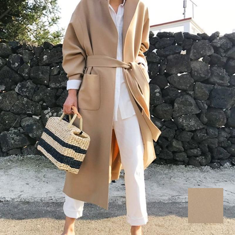 韓国 ファッション アウター コート 秋 冬 カジュアル PTXG281  テーラードカラー ボタン無し ビッグシルエット オルチャン シンプル 定番 セレカジの写真1枚目