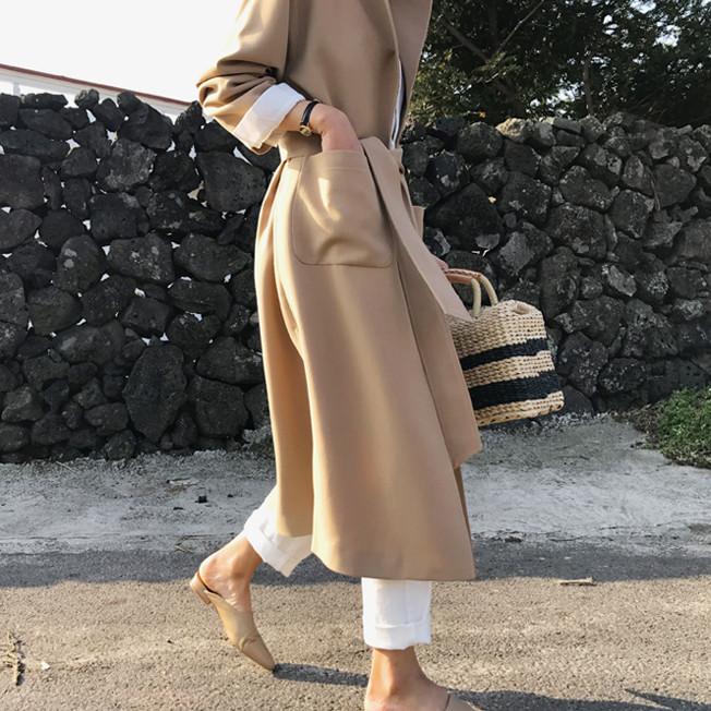 韓国 ファッション アウター コート 秋 冬 カジュアル PTXG281  テーラードカラー ボタン無し ビッグシルエット オルチャン シンプル 定番 セレカジの写真2枚目