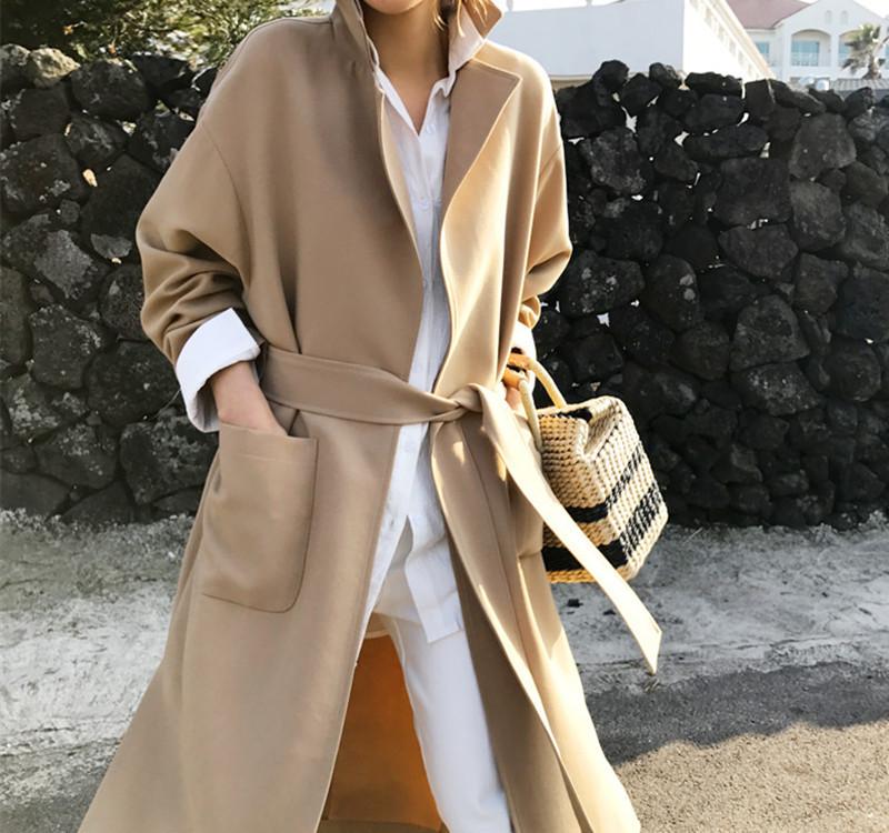 韓国 ファッション アウター コート 秋 冬 カジュアル PTXG281  テーラードカラー ボタン無し ビッグシルエット オルチャン シンプル 定番 セレカジの写真3枚目