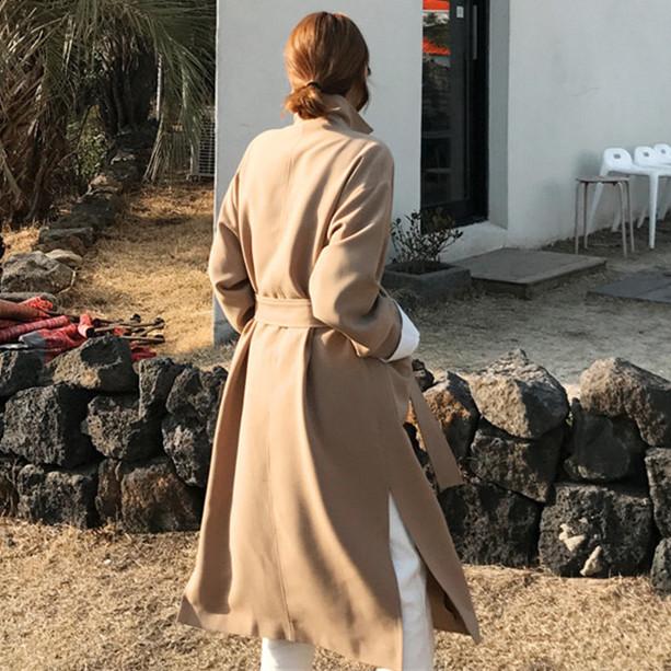 韓国 ファッション アウター コート 秋 冬 カジュアル PTXG281  テーラードカラー ボタン無し ビッグシルエット オルチャン シンプル 定番 セレカジの写真4枚目