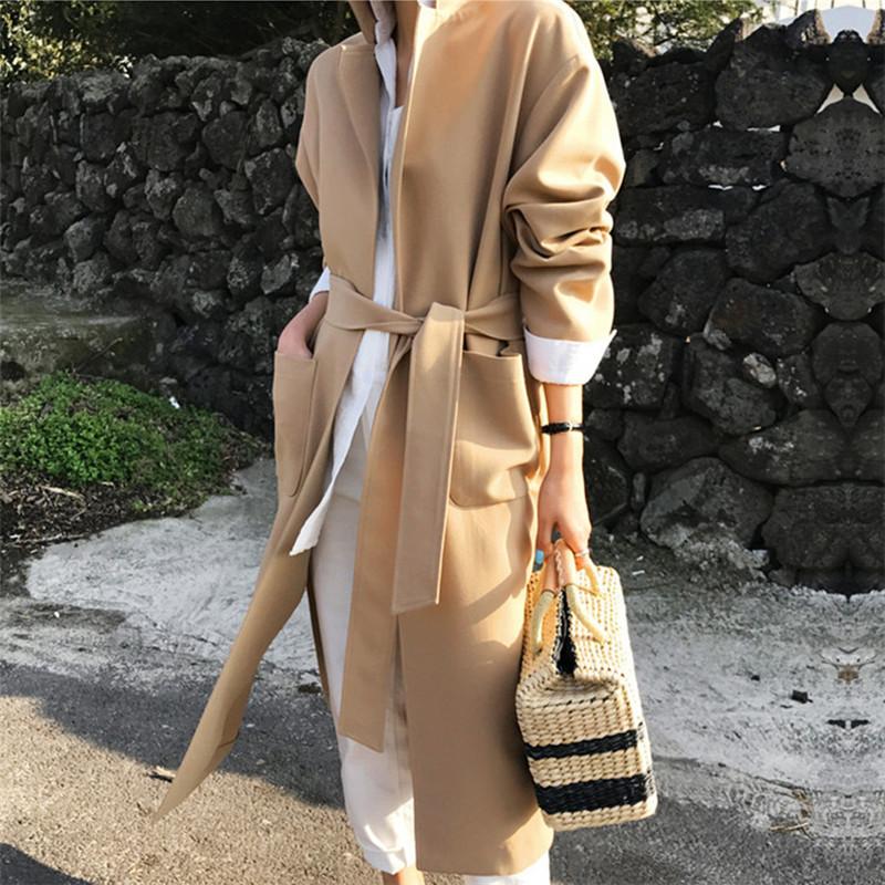 韓国 ファッション アウター コート 秋 冬 カジュアル PTXG281  テーラードカラー ボタン無し ビッグシルエット オルチャン シンプル 定番 セレカジの写真5枚目