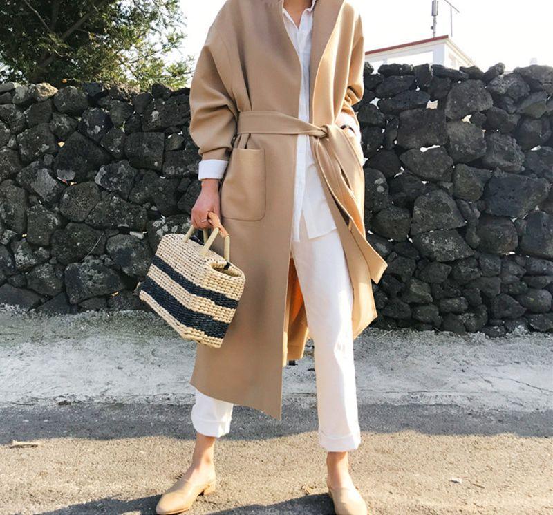 韓国 ファッション アウター コート 秋 冬 カジュアル PTXG281  テーラードカラー ボタン無し ビッグシルエット オルチャン シンプル 定番 セレカジの写真7枚目