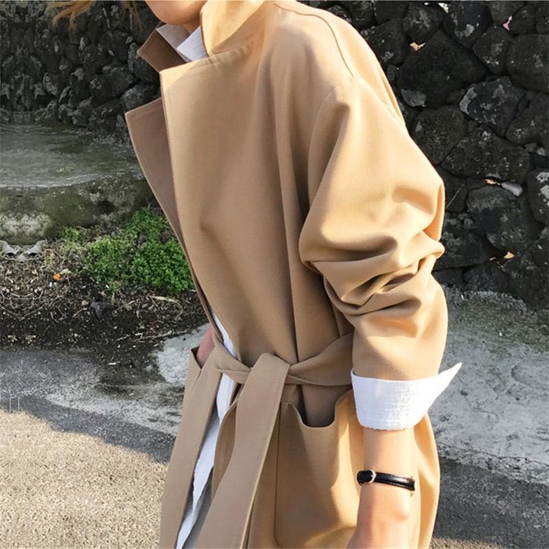 韓国 ファッション アウター コート 秋 冬 カジュアル PTXG281  テーラードカラー ボタン無し ビッグシルエット オルチャン シンプル 定番 セレカジの写真8枚目