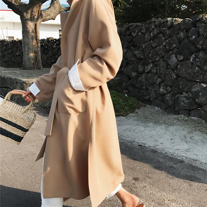 韓国 ファッション アウター コート 秋 冬 カジュアル PTXG281  テーラードカラー ボタン無し ビッグシルエット オルチャン シンプル 定番 セレカジの写真9枚目