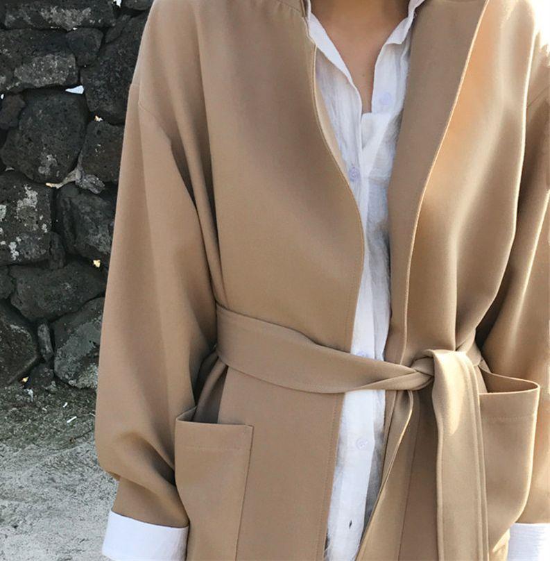韓国 ファッション アウター コート 秋 冬 カジュアル PTXG281  テーラードカラー ボタン無し ビッグシルエット オルチャン シンプル 定番 セレカジの写真11枚目