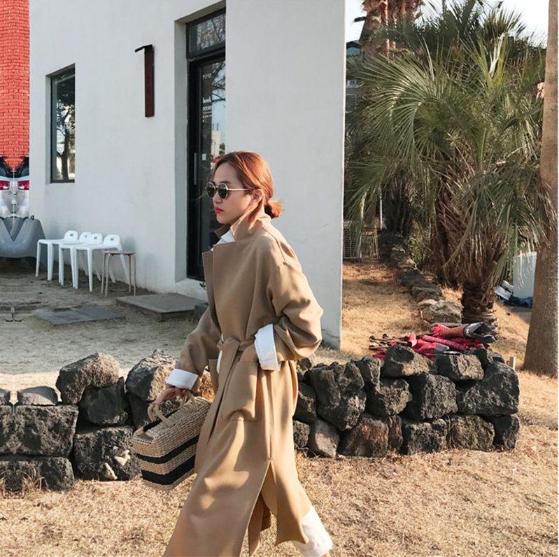 韓国 ファッション アウター コート 秋 冬 カジュアル PTXG281  テーラードカラー ボタン無し ビッグシルエット オルチャン シンプル 定番 セレカジの写真12枚目