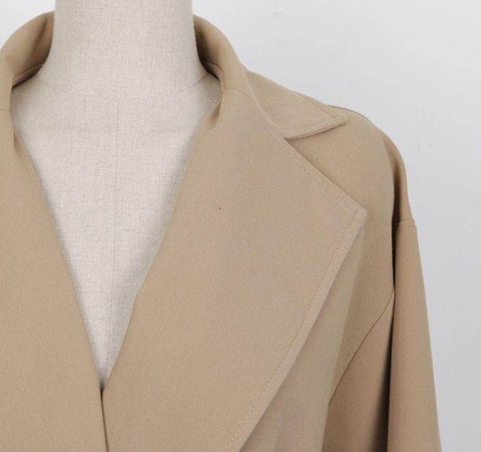 韓国 ファッション アウター コート 秋 冬 カジュアル PTXG281  テーラードカラー ボタン無し ビッグシルエット オルチャン シンプル 定番 セレカジの写真15枚目
