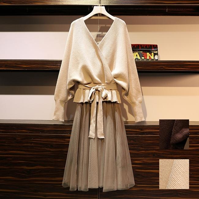 韓国 ファッション セットアップ 秋 冬 春 カジュアル PTXG298  ペプラム ゆったり リブ チュールスカート オルチャン シンプル 定番 セレカジの写真1枚目