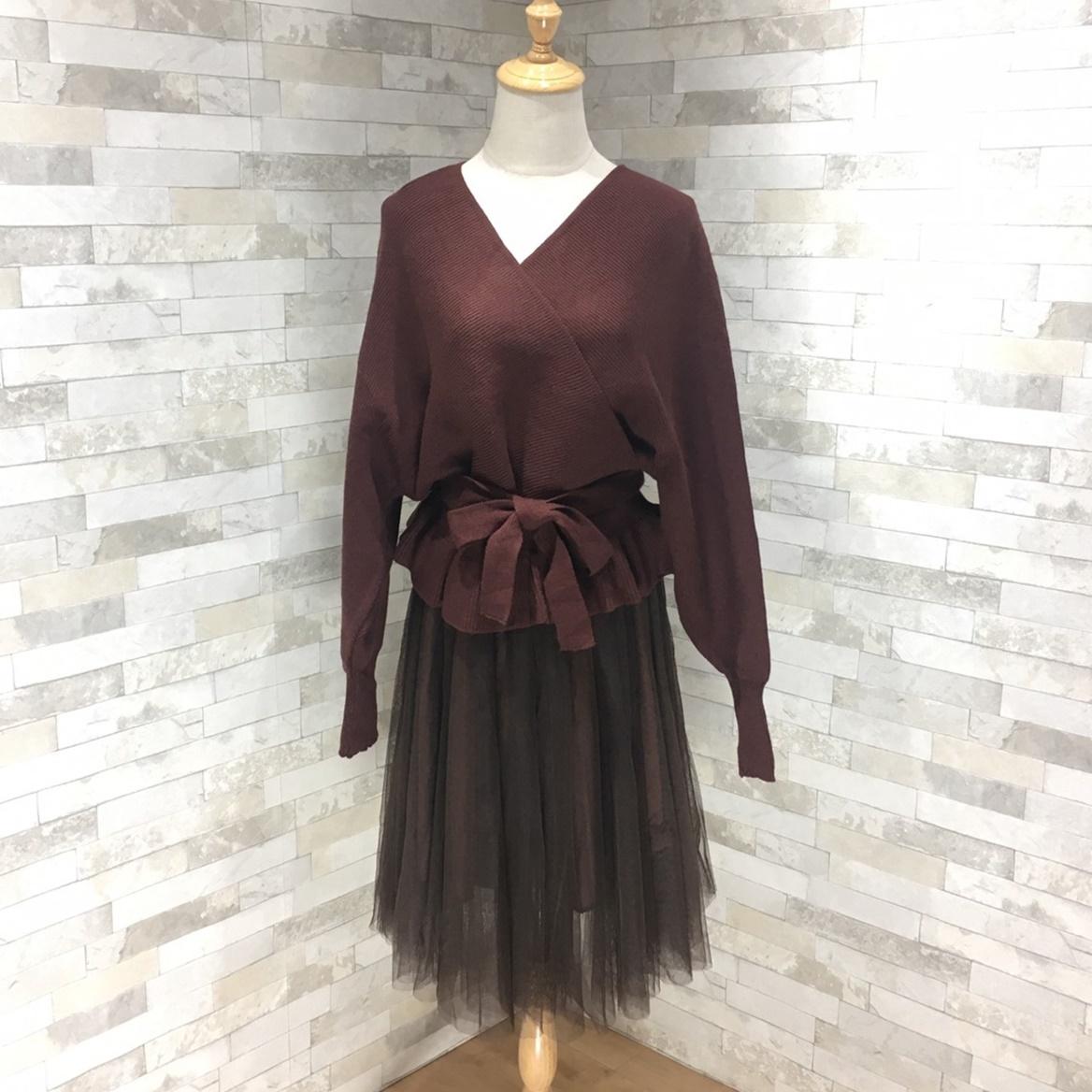 韓国 ファッション セットアップ 秋 冬 春 カジュアル PTXG298  ペプラム ゆったり リブ チュールスカート オルチャン シンプル 定番 セレカジの写真2枚目
