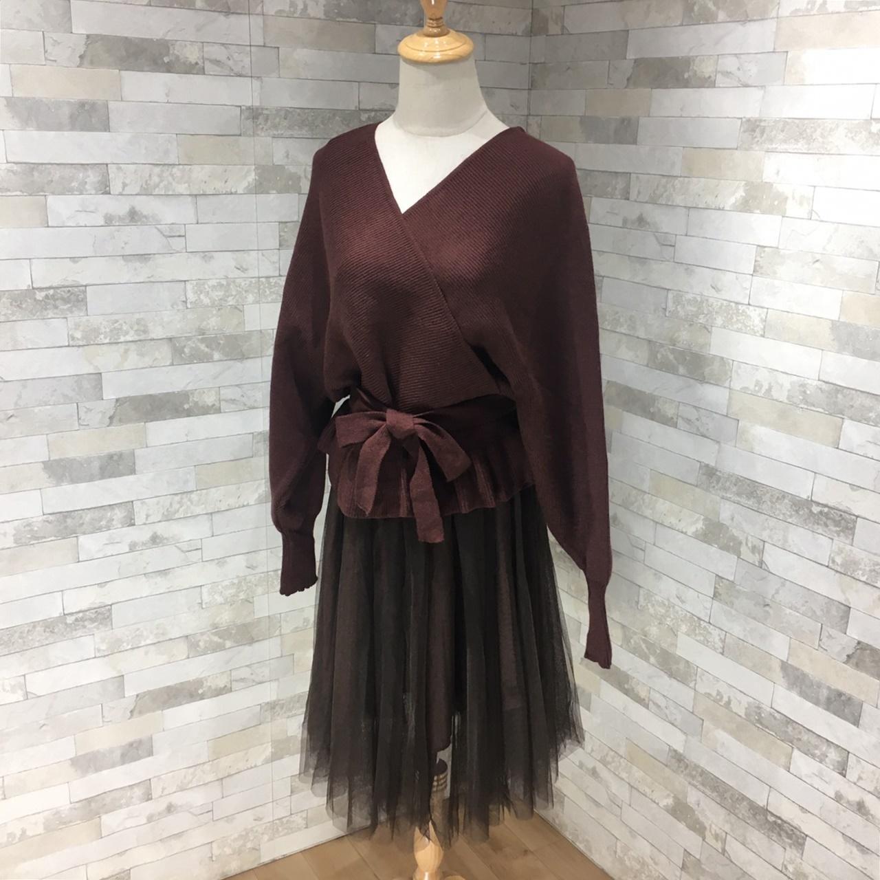 韓国 ファッション セットアップ 秋 冬 春 カジュアル PTXG298  ペプラム ゆったり リブ チュールスカート オルチャン シンプル 定番 セレカジの写真4枚目