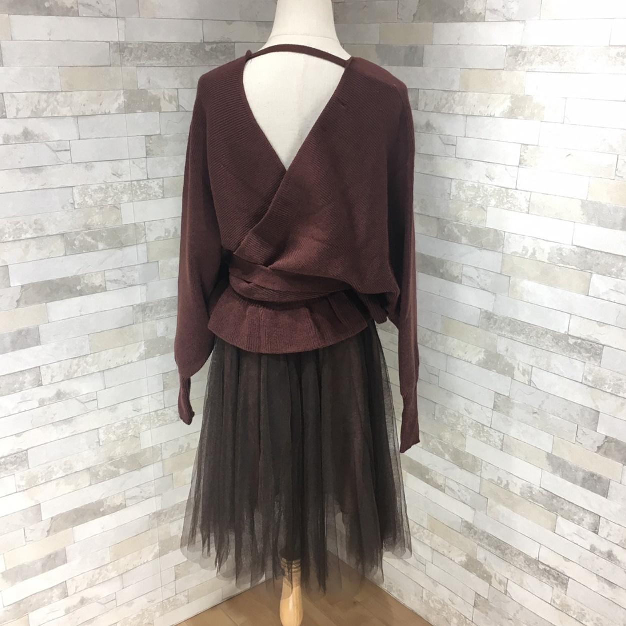 韓国 ファッション セットアップ 秋 冬 春 カジュアル PTXG298  ペプラム ゆったり リブ チュールスカート オルチャン シンプル 定番 セレカジの写真6枚目
