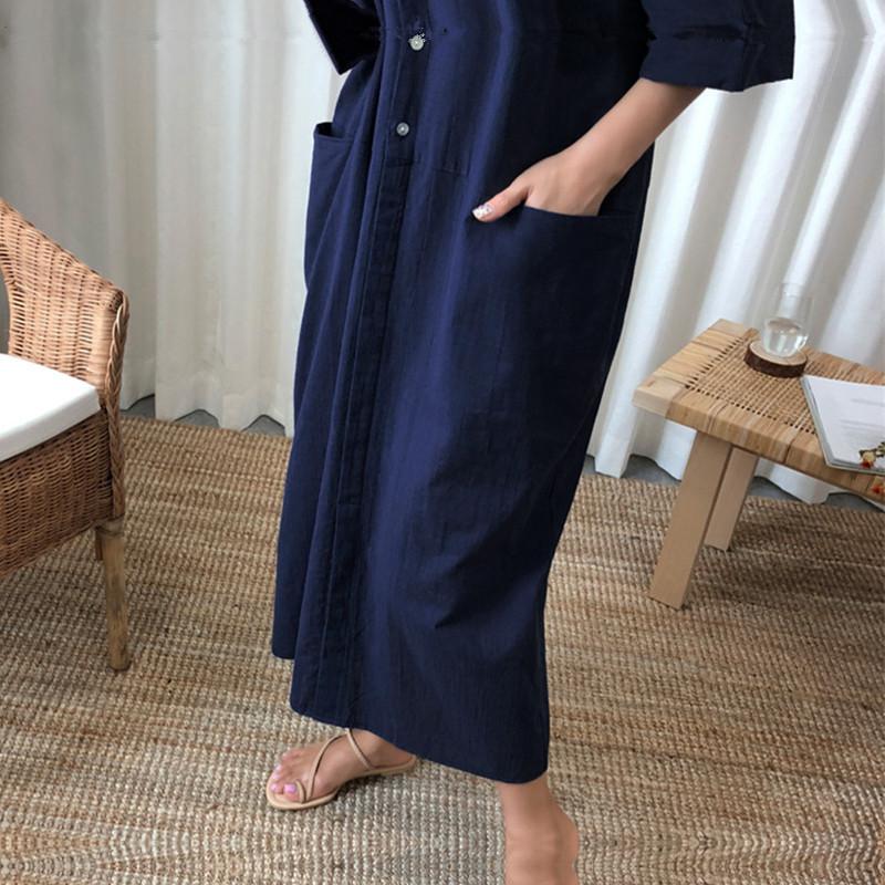 韓国 ファッション ワンピース 春 夏 秋 カジュアル PTXG330  チュラルテイスト リゾートワンピース リネン風 オルチャン シンプル 定番 セレカジの写真12枚目