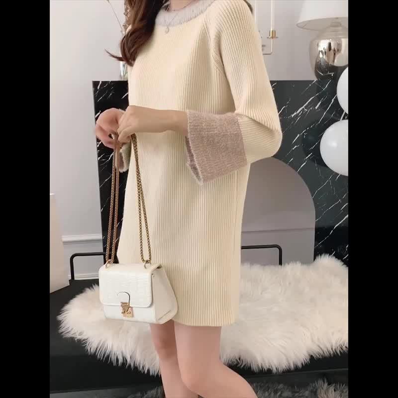 韓国 ファッション ワンピース 秋 冬 カジュアル PTXG360  ペールカラー ふわふわ ベルスリーブ リブ オルチャン シンプル 定番 セレカジの写真2枚目