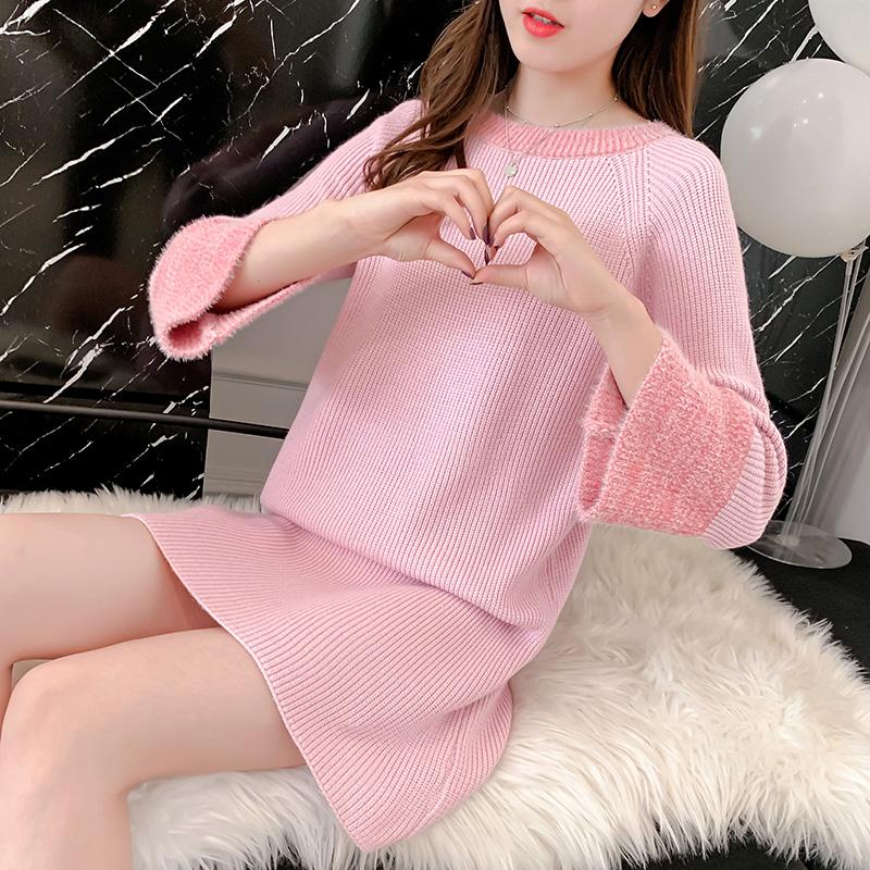 韓国 ファッション ワンピース 秋 冬 カジュアル PTXG360  ペールカラー ふわふわ ベルスリーブ リブ オルチャン シンプル 定番 セレカジの写真4枚目