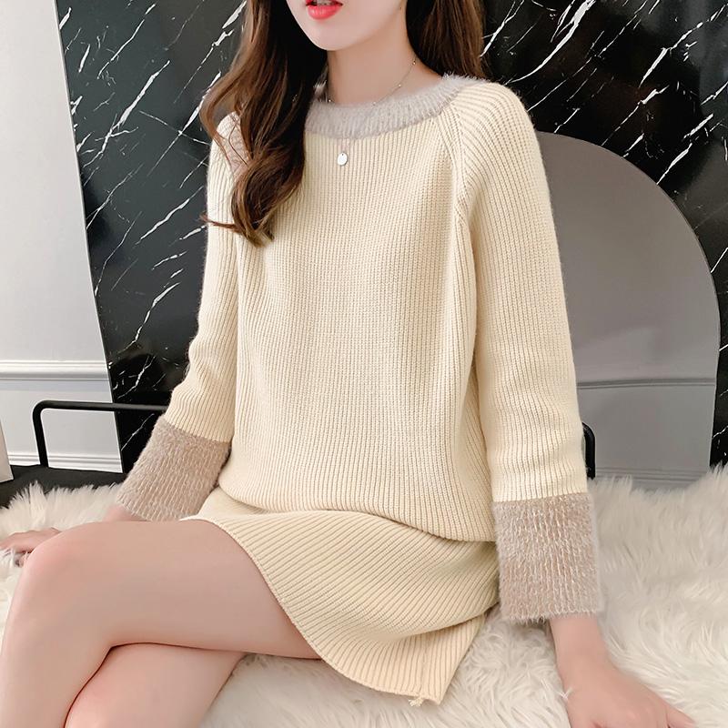 韓国 ファッション ワンピース 秋 冬 カジュアル PTXG360  ペールカラー ふわふわ ベルスリーブ リブ オルチャン シンプル 定番 セレカジの写真6枚目