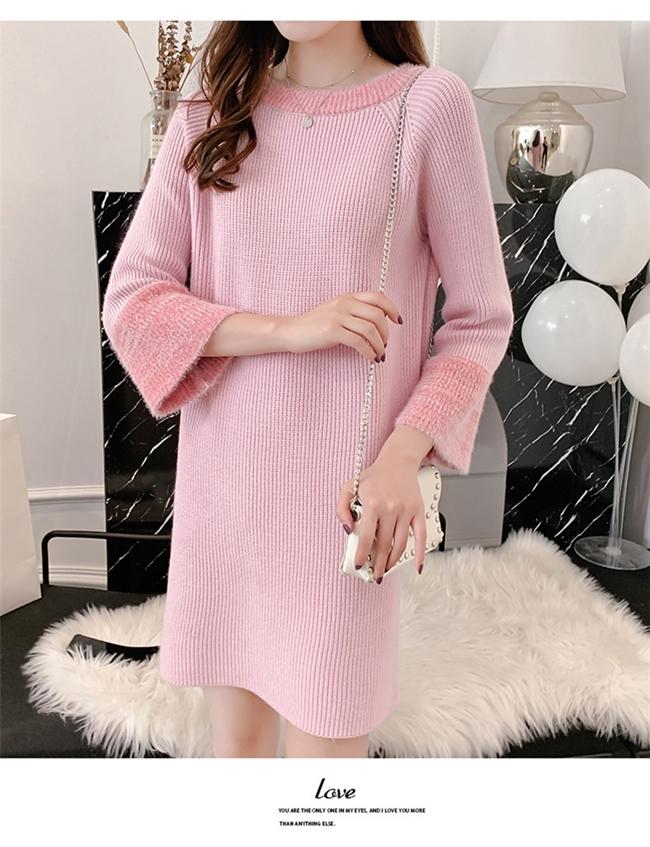 韓国 ファッション ワンピース 秋 冬 カジュアル PTXG360  ペールカラー ふわふわ ベルスリーブ リブ オルチャン シンプル 定番 セレカジの写真12枚目