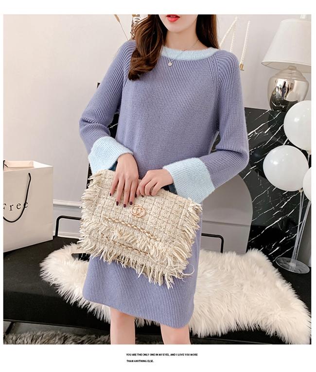韓国 ファッション ワンピース 秋 冬 カジュアル PTXG360  ペールカラー ふわふわ ベルスリーブ リブ オルチャン シンプル 定番 セレカジの写真18枚目